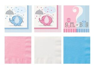 Baby Shower NAPKINS Party Tableware Boy Girl Unisex Blue Pink Party Decoration