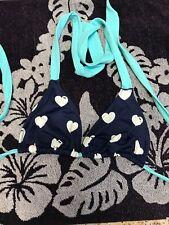 PINK Victorias Secret Bikini Top S Halter Triangle Multicolor Blue Hearts Dog