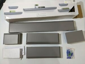 Melannco Set of 5 Floating Wall Mounted Wood Shelves Gray Grey Open Box Returned