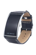 Man and Woman Arcuate LED Digital Date Fake Leather Strap Trendy Watch Black O1s