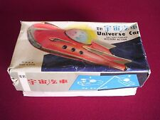 VINTAGE TIN LITHO UNIVERSE SPACE CAR BATTERY OPERATED BOXED