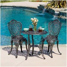 Victorian Style Outdoor Bistro Patio Set, Durable Metal ~ Vintage Antique Finish