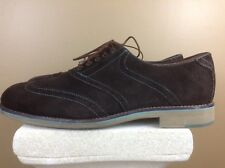 Johnston And Murphy Brown Suede Mens Wingtip Shoes Teal Stitching Sz 10.5 M