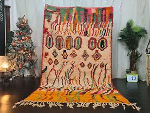 "Moroccan Tribal Boujaad Handmade Carpet 5'5""x9' Abstract White Orange Berber Rug"