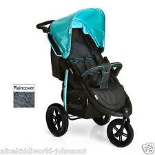 New Hauck Viper SLX 3 wheeler pram pushchair Caviar Black/Capri Blue+Raincover