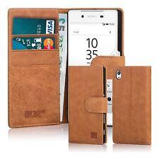 Premium Genuine Leather Book Wallet Case Cover for Sony Xperia Xa1 Ultra Tan Sny.xa1ultra.32ndprem-tan