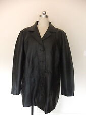 LADIES SIZE 20 GENUINE LEATHER QUALITY BLACK JACKET COAT FULLY LINED TARGET