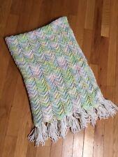 Hand knit crochet Baby Keepsake Blanket~Yellow, Green, Blue & Pink Afghan Throw