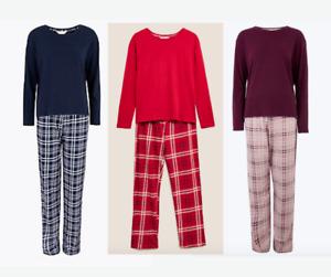 EX M&5 Ladies Women's Pyjamas Size Soft Pure Cotton Classic XS S M L XL XXL
