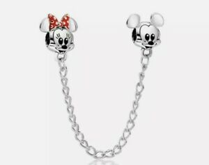 Silver Mickey & Minnie Mouse European Safety Chain Dangle Charm Bead!
