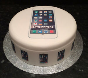 White iPhone pre-cut Edible Icing Cake Topper or Ribbon