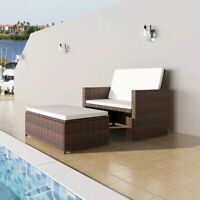 vidaXL 5 Piece Garden Sofa Set Poly Rattan Wicker Brown Outdoor 2 Seater Bed