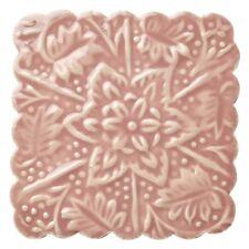 Glasuntersetzer quadratisch romantischer Landhaus-Stil mit Ornament in Rosa