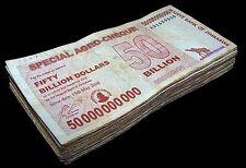 100 x Zimbabwe 50 Billion dollar agro cheque banknotes-bundle