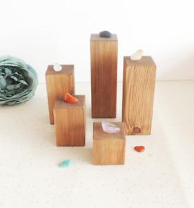 Crystal display, wooden riser, set of stands, shop props, display blocks, natura