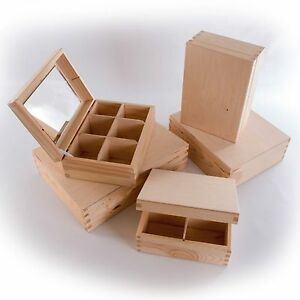 4/6/9/12 Compartments Wooden Plain Mirrored Jewellery Boxes /Mirror Box Gift
