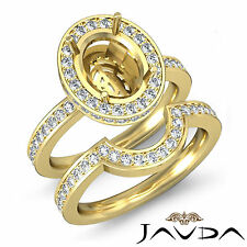 Diamond Oval Wedding Band Semi Mount Ring 18k Gold Yellow Bridal Setting 1.2Ct