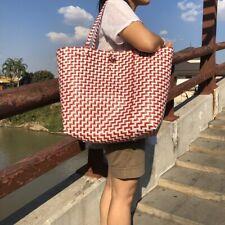 Tote Bag Shoulder Handbag Woven Handmade Checkere Large Shopping Style Vtg Retro