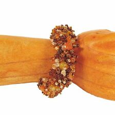 Orange Gold Sparkle Style Handmade Seed Bead Stretch Bracelet FREE SHIPPING!!