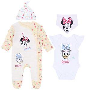Bodysuit Sleepsuit  Bandana Bib Hat Set For Baby Girls MINNIE MOUSE DISNEY