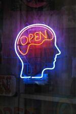 "Open Mind Brain Neon Sign 20""x16"" Light Lamp Windows Bar Pub Wall Decor Glass"
