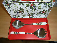 PORTMEIRION THE HOLLY AND THE IVY SALAD SERVERS NEW BOXED