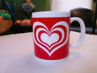 Valentine's Day Red and White Hearts Coffee Tea Mug Cup HF98 Houston Foods