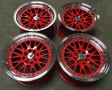 "15"" AVID1 AV12 RED POLISHED ALLOY WHEELS 4X100 BMW 3 SERIES E30 & HONDA CRX"