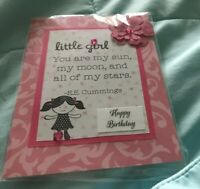 Birthday Card Little Girl Sprinkled With Pink Stones Pretty Verse. Handmade