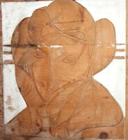 VINTAGE HAND CARVING WOOD ABSTRACT WALL HANGING ART WORK