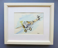 "Original Framed Line & Wash Watercolour ""Fokker Eindecker 1915 Fighter"