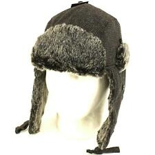 Winter Faux Fur Houndstooth Trooper Hat Charcoal L/XL