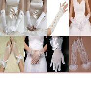 Ladies Wedding bridal ivory gloves fingerless fingered satin classic opera party