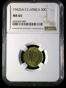 French Equatorial Africa 1942 50 Centimes *NGC MS-65* Scarce Only 7 Graded Highr