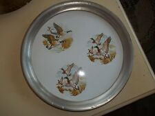 "Vintage Revere Pewter & Porcelein 13"" Flying Ducks Round Serving Tray"