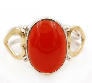 Two Tone- Carnelian 925 Solid Sterling Silver Ring Jewelry Sz 7, ED24-4