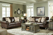 Traditional Brown Leather Living Room Furniture - Sofa Couch & Loveseat Set IG0M