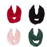 Womens Warm Cotton Infinity Scarf Loop Cowl Neck Plain Wrap Shawl Circle Snood