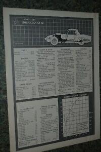 ★★1970 LOTUS ELAN S4 SE ORIGINAL FIRST LOOK ROAD TEST INFO SPEC SHEET 70
