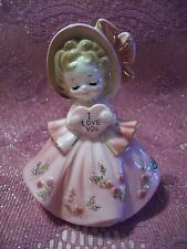 *Super Rare Vtg* Josef Valentine Pink Gown Girl Holds I Love You Heart Figurine