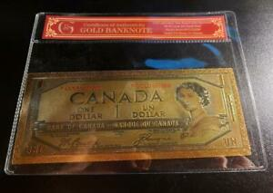 CANADA 💴 1 Dollar .9999 GOLD FOIL Note 💶🍁 Canadian Seller 🍁w/ Certificate