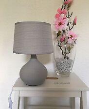 Tischlampe Tischleuchte Nachttischlampe Hellgrau Keramik Leinen Grundig E 14 A++