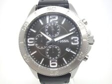 Fossil Mens BQ1628 Chronograph Silver Case Black Leather  Watch  (11C)