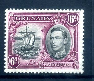 Grenada 1938-50 6d Extra window and broken handrail flaw SG 159ab clean MH