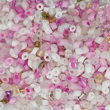 Chopped Glass Random Bohemian Bead Mix including Pink White Pearl ... pk/400