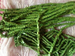 50 VINTAGE WOOD SQUARE BEADS Kiwi Green 3mm Handmade Jewelry Macrame Crafts lot