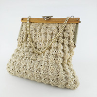 Vintage Cream Woven Crochet Handbag - Gift for Women