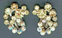 Vintage Juliana Yellow AB Rhinestone Silver tone  clip Earrings