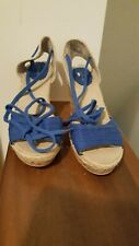 Old Navy Womens Size 8 Blue Espadrille Wedge Sandals Heels Peep Toe Shoes