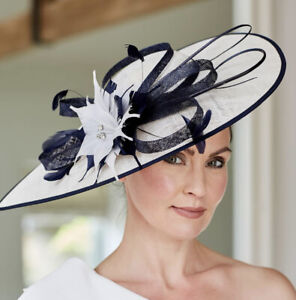NIGEL RAYMENT WHITE AND NAVY WEDDING  DISC HATINATOR Mother Of The Bride Hat